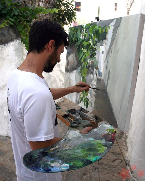 Antonio Barahona durante el Concurso de Pintura Rápida