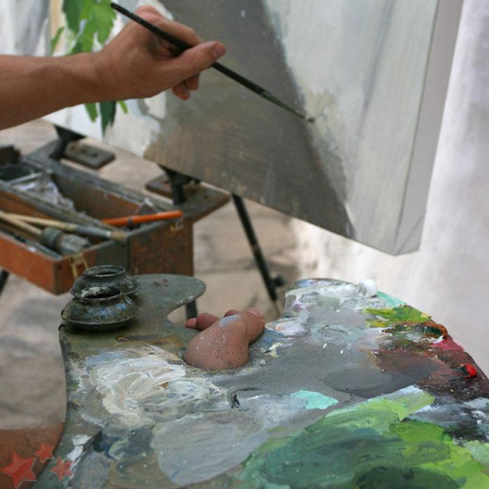 Paleta y obra de Barahona
