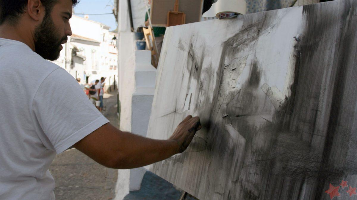 Juan J. Lobato pintando