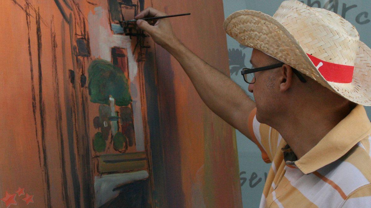 Joaquín Domínguez pintando