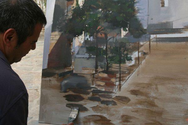Rafael Domínguez pintando