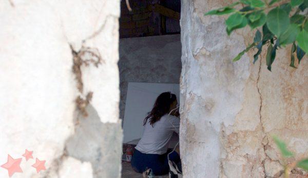 Creando durante la jornada de pintura