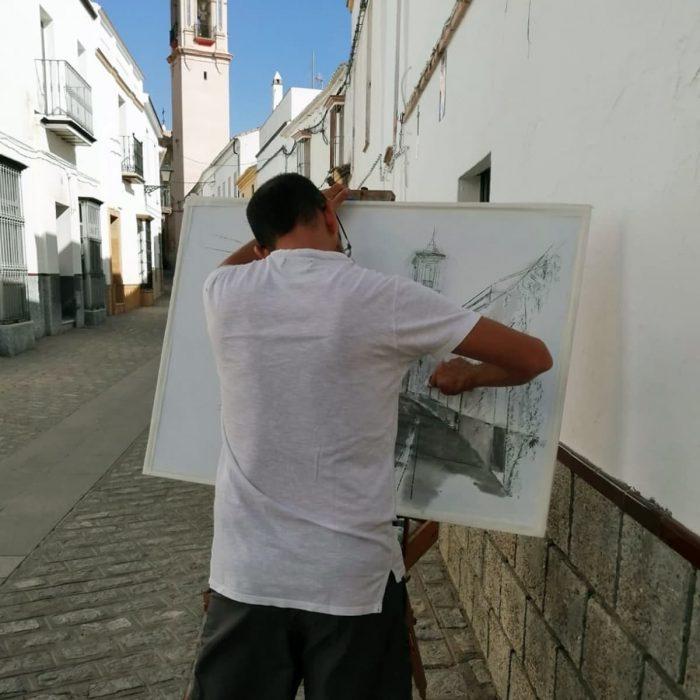 Manuel Benítez realizando su obra en Bornos